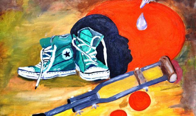 Polio art work by a young artist balochistan