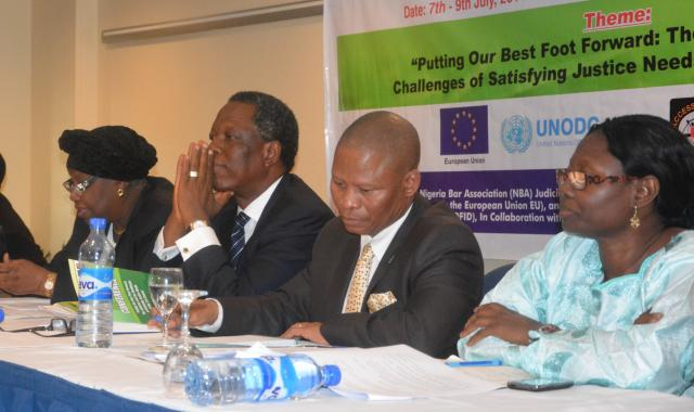 R-L - Mariam Sissoko; Hon. Justice Mogoeng Mogoeng, ; Okey Wali; and Hon. Justic