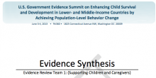 Evidence Synthesis - Evidence Review Team 1: (Supporting Children and Caregivers)